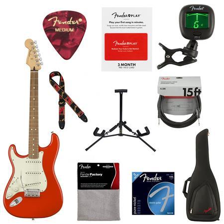 Fender Player Strat Left-Handed Electric Guitar, Pau Ferro Sonic Red W/ACC  KIT