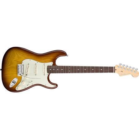 Fender American Deluxe Stratocaster Ash Electric Guitar, 22 Frets, Modern C  Neck, Rosewood Fingerboard, Passive Pickup, Urethane, Tobacco Sunburst