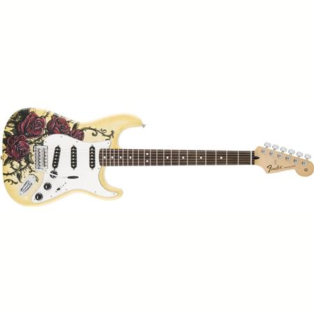 Fender Special Edition David Lozeau Art Stratocaster Electric Guitar, 21  Frets, Modern C Neck, Rosewood Fingerboard, Passive Pickup, Rose Tattoo Art