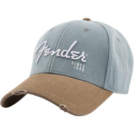ec6ede6cf Fender Spaghetti Logo Washed Snapback Cap, Gray & Blue