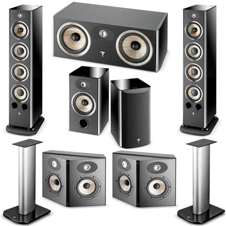 Focal Aria Black Piano Lacquer, Major Speakers Bundle With Stand