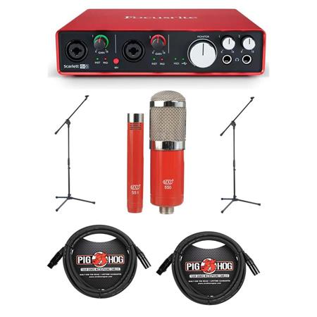 Focusrite Scarlett 6i6 USB Audio Interface, 2nd Gen - Bundle With MXL  550/551R Condenser Ensemble Microphone Kit, 2x Pig Hog 20' 8mm XLR  Microphone