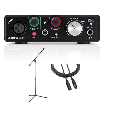 Focusrite Scarlett Solo 2nd Gen 2 Input/ 2 Output USB 2 0 Audio Interface  with 1x Scarlett Mic Preamp and 1x Instrument Input, - With Samson MK10