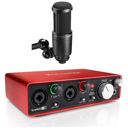 Focusrite Scarlett 2i2 USB Audio Interface + Audio-Technica Microphone