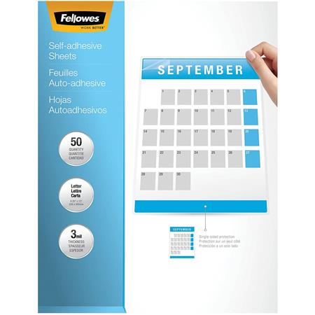 Fellowes Self Adhesive Laminating Sheets 3mil Letter 50