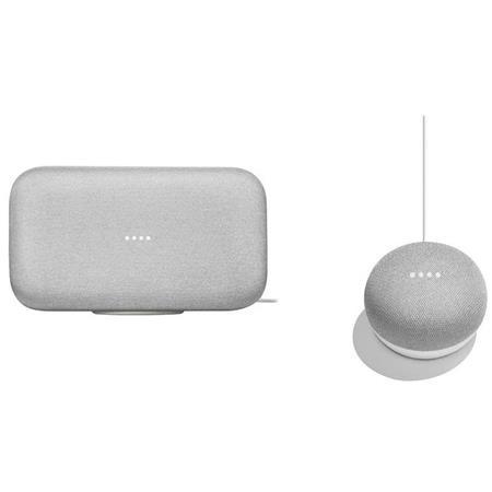 Google Home Max, Chalk - With Google Home Mini, Charcoal