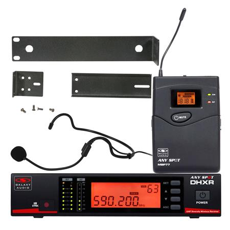 Galaxy Audio DHX Wireless Headset Microphone System, Includes DHXR Receiver  and MBP77 Bodypack Transmitter, 584-607 MHz