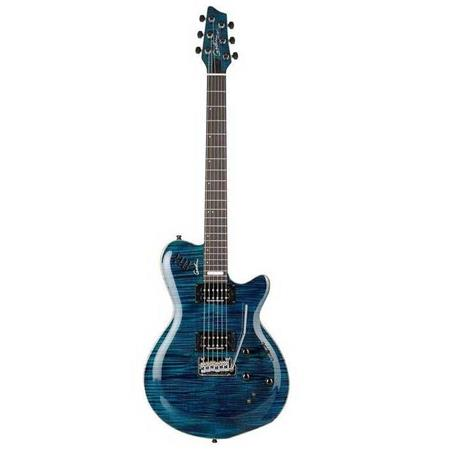 Godin LGXT 6-String Solid Body Electric Guitar with Gig Bag, 22 Frets,  Mahogany Neck, Ebony Fingerboard, Transparent Blue Flame AAA