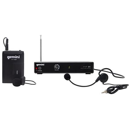 Gemini VHF-01 Single Channel Wireless System, Includes Headset/Lavalier  Microphone with Belt Pack Transmitter and Receiver, 170-260MHz