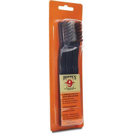 Hoppe's Utility Gun Cleaning Brush, 3 Pack, Includes Stainless Brush,  Phosphor Bronze Brush, Nylon Brush