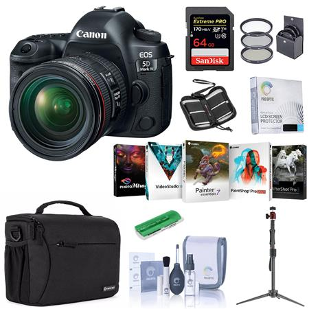 Canon EOS 5D Mark IV DSLR with 24-70mm Lens with Free PC Accessory Bundle