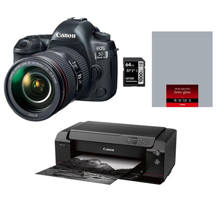 Canon EOS 5D Mark IV DSLR with 24-105mm USM Lens With PRO-1000 Printer/64GB  Card