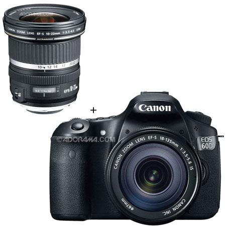 Canon EOS 60D Digital SLR Camera / Lens Kit  With EF-S 18-135mm f/3 5-5 6  IS Lens & EF-S 10mm - 22mm f/3 5-4 5 USM Autofocus Zoom Lens