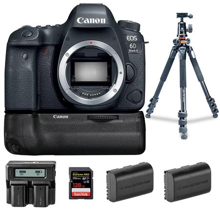Canon EOS 6D Mark II DSLR Body With BG-E21 Battery Grip And Accessory Bundle