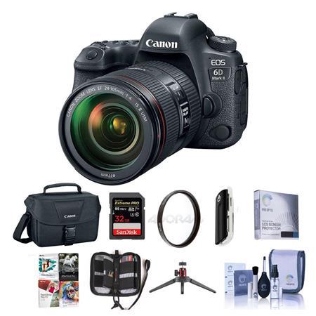 Canon EOS 6D Mark II DSLR with EF 24-105mm f/4L IS II USM Lens W/Free Acc  Bundle