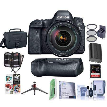 Canon EOS 6D Mark II DSLR with 24-105mm Lens and Free Canon BG-E21 Battery  Grip Kit (Grip + Accessories)