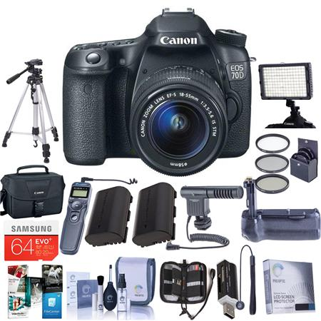 Canon EOS 70D DSLR Camera Body with EF-S 18-55mm F3 5-5 6 IS STM Lens,  Black - Bundle With with 64GB Class 10 SDXC Card, Camera Bag, 2x Spare  Battery,