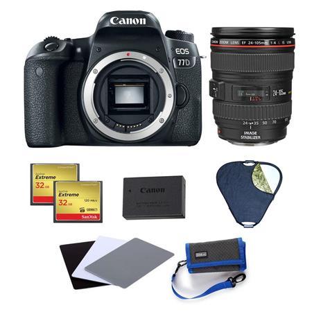Canon EOS 77D DSLR Body With EF 24mm-105mm f/4L IS USM Lens And Creative  Bundle