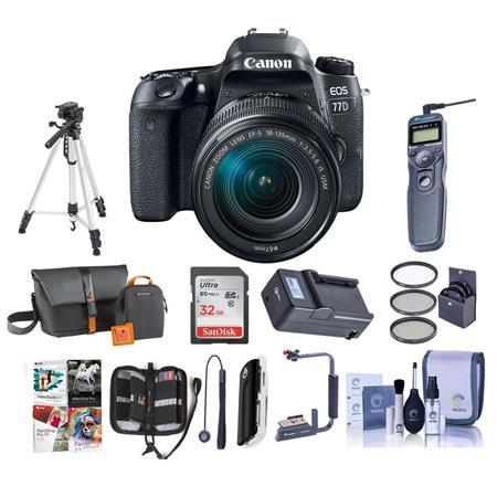 Canon EOS 77D DSLR 18-135mm USM Lens With Premium Accessory Bundle