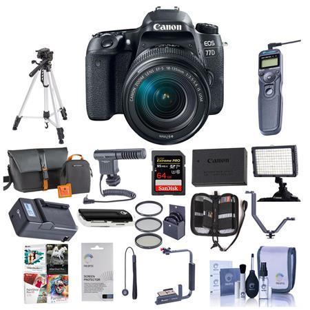 Canon EOS 77D DSLR 18-135mm USM Lens With Pro Accessory Bundle