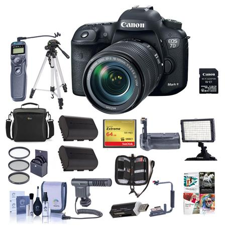 Canon EOS 7D MII DSLR Camera w/EF-S 18-135mm IS USM Lens/Wifi Adapter/Pro  Bundle