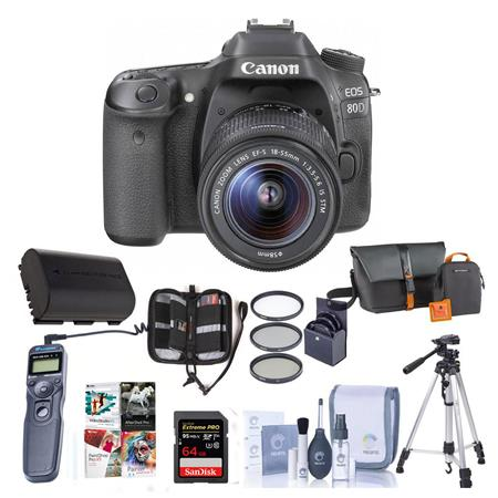 Canon EOS 80D DSLR with 18-55mm STM Lens and Premium Kit