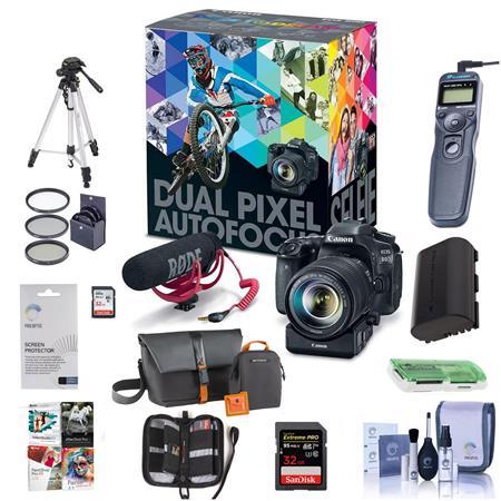 Canon EOS 80D DSLR with 18-135mm USM Lens and Audio Kit and Premium Acc  Bundle