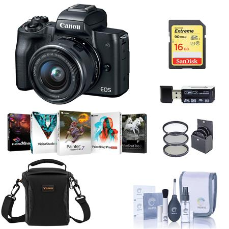Canon EOS M50 Mirrorless Camera with 15-45mm STM Lens Black W/Pc Free Acc  Bundle