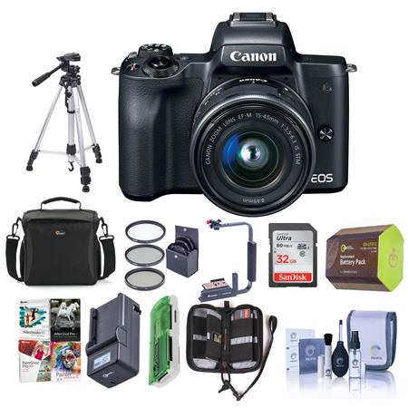 Canon EOS M50 Mirrorless Camera with 15-45mm STM Lens Black W/Premium Acc  Bundle