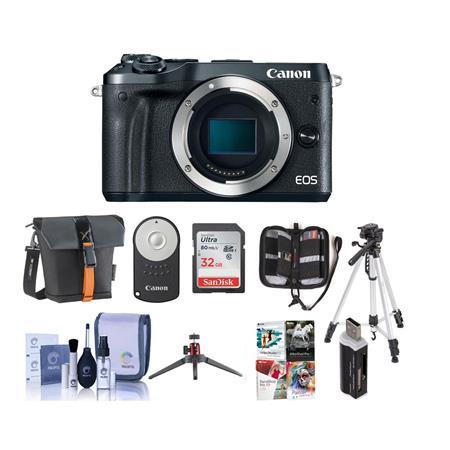 Canon EOS M6 24MP Mirrorless Digital Camera Black With Premium Accessory  Bundle