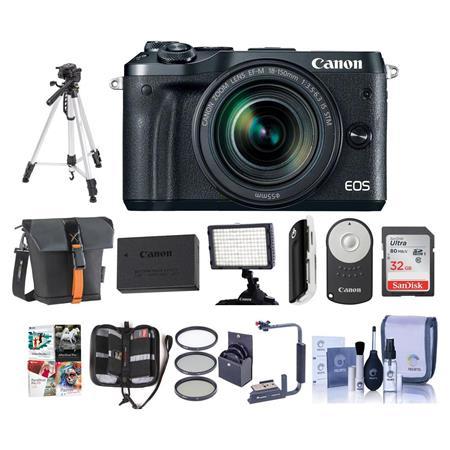 Canon EOS M6 Mirrorless Camera Black w/EFM 18-150mm IS STM Lens w/Pro Acc  Bundle