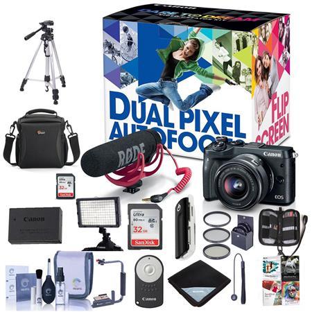 Canon EOS M6 Mirrorless Camera Video Creator Kit, Black W/Pro Acc Bundle