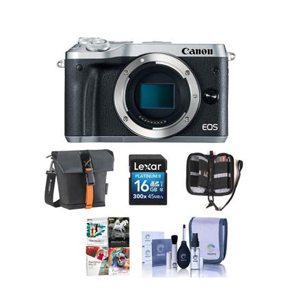 Canon EOS M6 24MP Mirrorless Digital Camera Silver With Free PC Accessory  Bundle