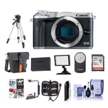Canon EOS M6 24MP Mirrorless Digital Camera Silver With Pro Accessory Bundle