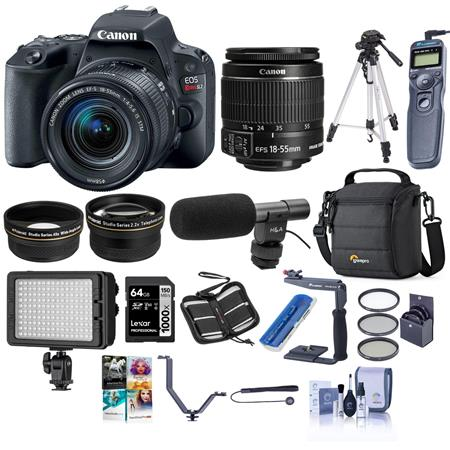 Canon EOS Rebel SL2 DSLR with 18-55mm STM Lens - Black - with Pro Accessory  Kit