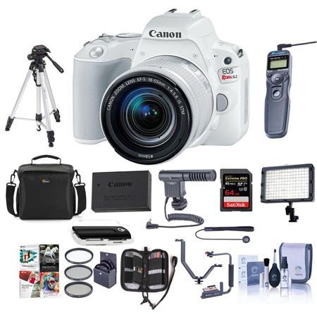 Canon EOS Rebel SL2 DSLR with 18-55mm STM Lens White With Pro ...