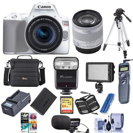 Canon EOS Rebel SL3 DSLR Camera with EF-S 18-55mm f/4-5 6 Lens White W/Pro  ACC