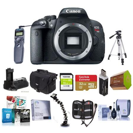 Canon EOS Rebel T5i DSLR Camera Body - Bundle with 16GB SDHC/32GB SDHC  Card, Camera Bag, Spare Battery, Battery Grip, Memory Wallet, Tripod,  Cleaning