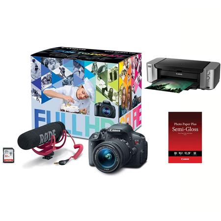 Canon Eos Rebel T5i Video Creator Kit With Ef S 18 55mm F 3 5 5 6 Is Stm Lens Rode Videomic Go Mic Sandisk 32g Sd Card Class 10 Bundle With Canon