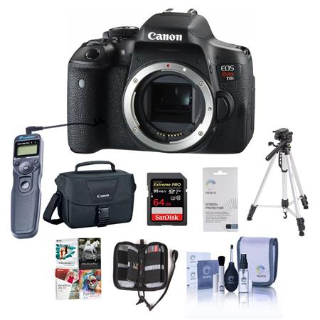 Canon Eos Rebel T6i Dslr Camera Bundle With Camera Case 64gb Class 10 Sdxc Card Cleaning Kit Tripod Memory Wallet Remote Shutter Trigger