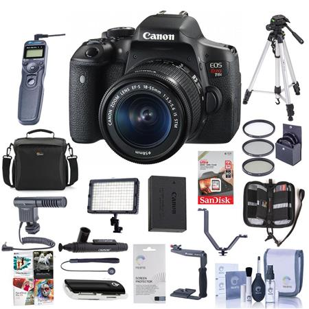 Canon Eos Rebel T6i Dslr With Ef S 18 55mm F 3 5 5 6 Is Stm Lens Bundle With 64gb Sdhc Card Remote Trigger Camera Case Tripod Video Light