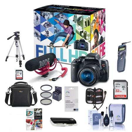 Canon T6i Video Creator Kit with EF-S 18-55mm f/3 5-5 6 IS STM Lens, Rode  VIDEOMIC GO Microphone, 32GB SDHC Card - Bundle with 32GB SDHC Card, Remote