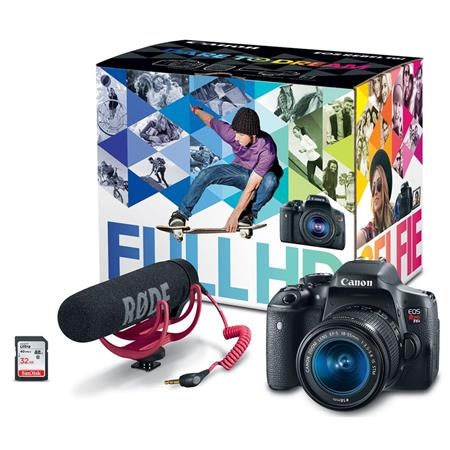 Canon Eos Rebel T6i Video Creator Kit With Ef S 18 55mm F 3 5 5 6 Is Stm Lens Rode Videomic Go Mic Sandisk 32g Sd Card Class 10