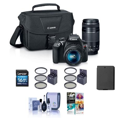 Canon Eos Rebel T6 Dslr With 18 55mm Is 75 300mm Iii Lens And Free Accessories