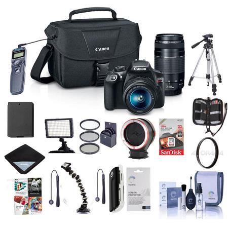 Canon EOS Rebel T6 DSLR Camera w/18-55mm &75-300mm Lenses W/Pro Accessory  Bundle