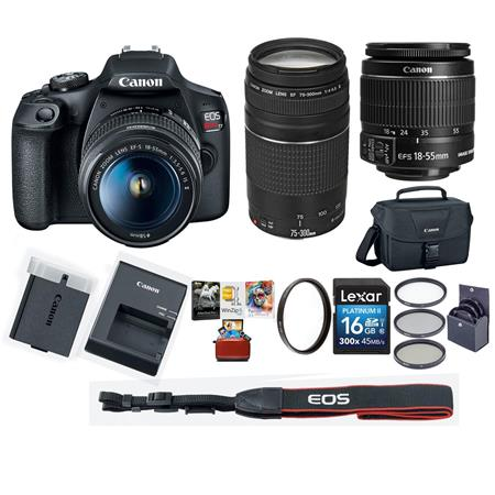 Polarizer and Flash with tripod UV filter 16GB memory card Canon EOS Rebel T6 Digital SLR Camera Kit with EF-S 18-55mm and EF 75-300mm Zoom Lenses Black