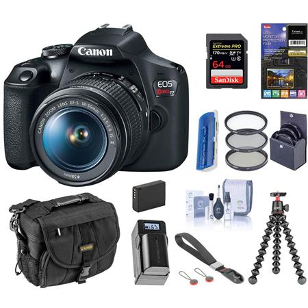 Canon EOS Rebel T7 24 1MP DSLR Camera with EF-S 18-55mm f/3 5-5 6 Lens  W/ACC KIT