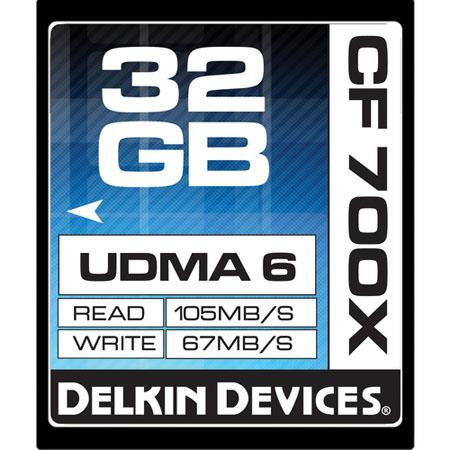 Used Delkin Devices 32GB Compact Flash 700x Memory Card,105MB/s Read Speed,  67MB/s Write Speed, Slow Motion Approved - Made in the USA N