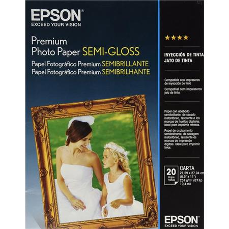 Epson Premium Luster Semi Gloss Photo Paper 85x11 20 Sheets S041331