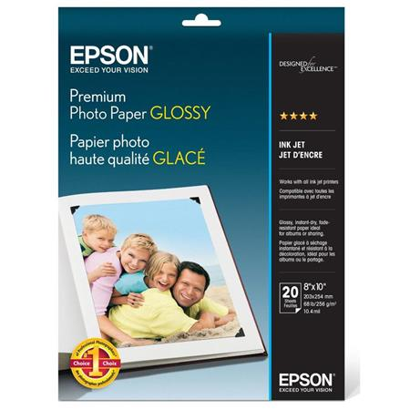 epson premium glossy photo paper 8x10 quot 20 sheets s041465
